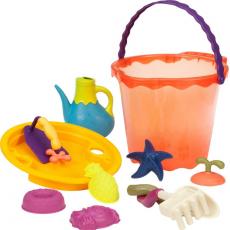 68702 Большое ведерко и игровой набор для песка, 11 деталей (оранжевый), фото