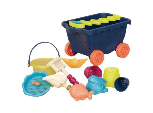 Тележка с игровым набором для песка B.Toys (Battat), синия, фото