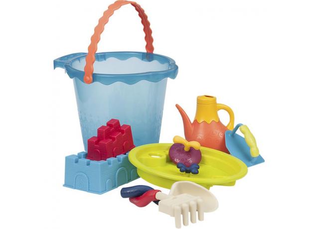 Большое ведро игровой набор для песка B.Toys (Battat), 10 деталей голубой, фото