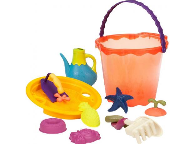 Большое ведерко и игровой набор для песка B.Toys (Battat), 11 деталей оранжевый, фото