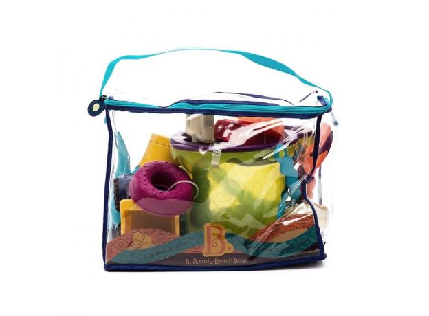 Игровой набор для песка в пляжной сумке B.Toys (Battat) зеленый, фото , изображение 3