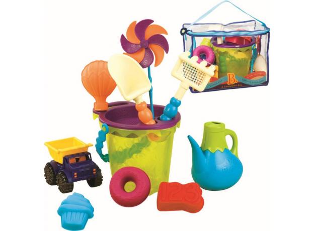 Игровой набор для песка в пляжной сумке B.Toys (Battat) зеленый, фото