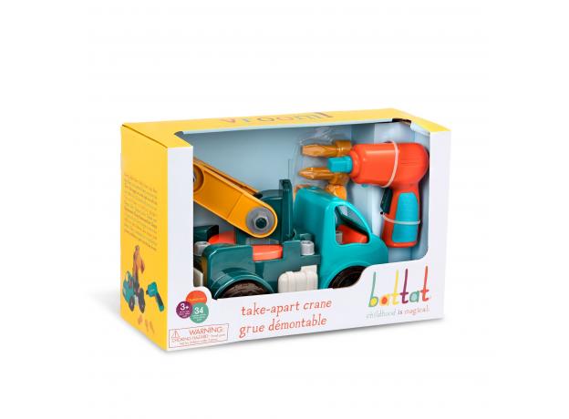 Игрушка-конструктор B.Toys (Battat) «Кран»: 34 элемента, фото , изображение 8