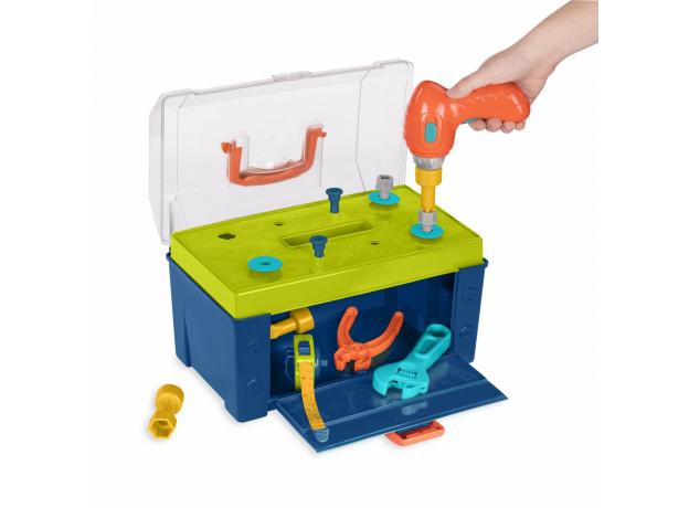 Набор игрушечных строительных инструментов Battat в контейнере, фото , изображение 2