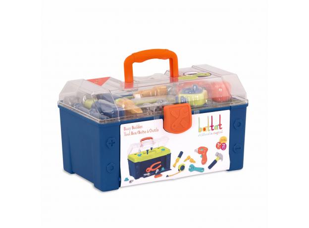 Набор игрушечных строительных инструментов Battat в контейнере, фото , изображение 3