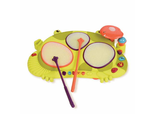 Музыкальная игрушка мульти-барабан B.Toys (Battat) «Лягушка», фото