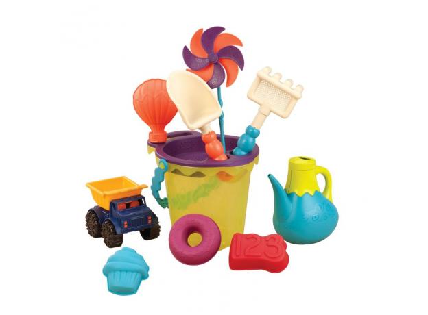 Игровой набор для песка в пляжной сумке B.Toys (Battat) зеленый, фото , изображение 2