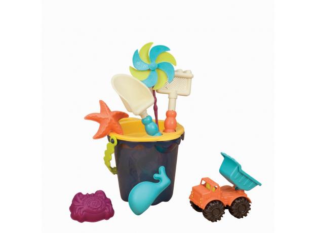 Малое ведерко и игровой набор для песка B.Toys (Battat), 9 деталей голубой, фото