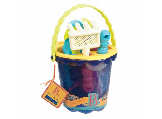 Малое ведерко и игровой набор для песка B.Toys (Battat), 9 деталей голубой, фото , изображение 2