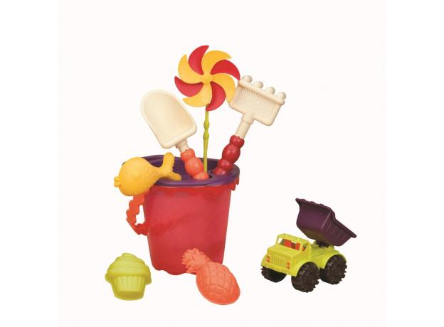 Малое ведерко и игровой набор для песка B.Toys (Battat), 9 деталей оранжевый, фото