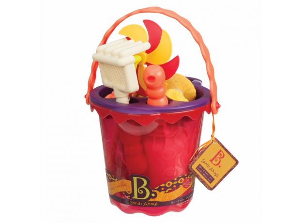 Малое ведерко и игровой набор для песка B.Toys (Battat), 9 деталей оранжевый, фото , изображение 2