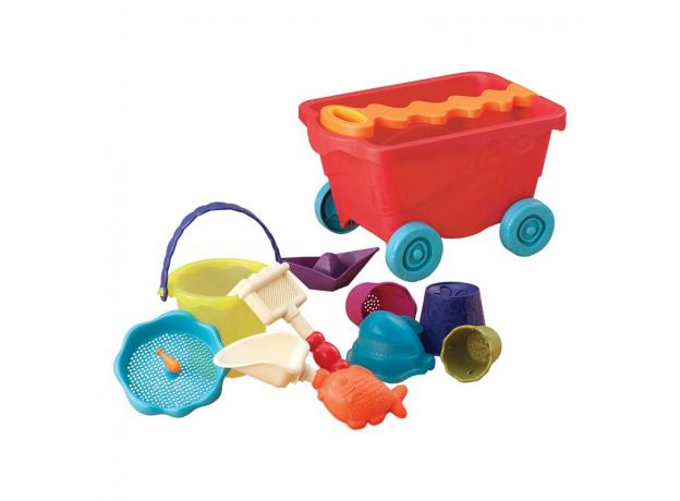 Тележка с игровым набором для песка B.Toys (Battat), красная, фото